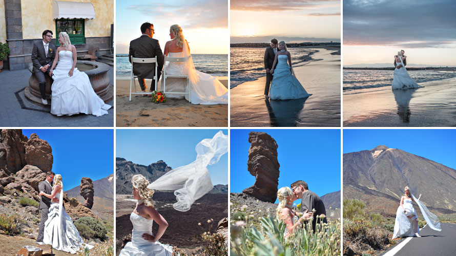 canary island wedding photoshoot of just married couple