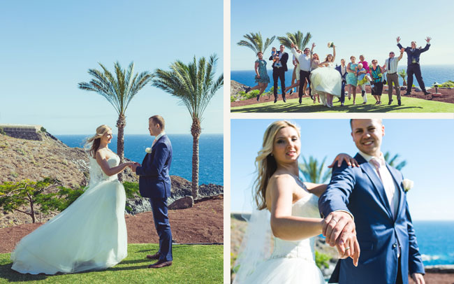 canary islands newly wedded couple