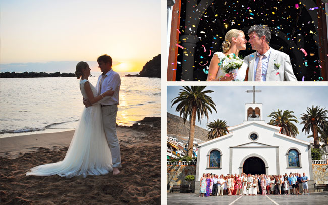 photographer on wedding shoot in Tenerife with happy couple