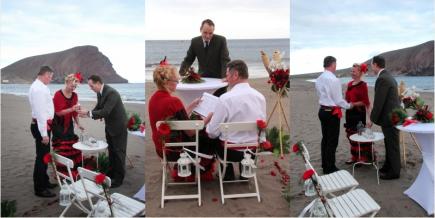 Typisch spanische Hochzeit am Strand auf den kanarischen Inseln