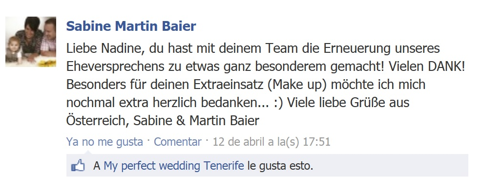 Tenerife Weddings Testimonials